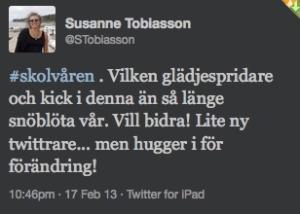 Susanne Tobiasson om kicken #Skolvåren ger!