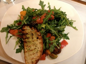 Grilled veggies on arugula
