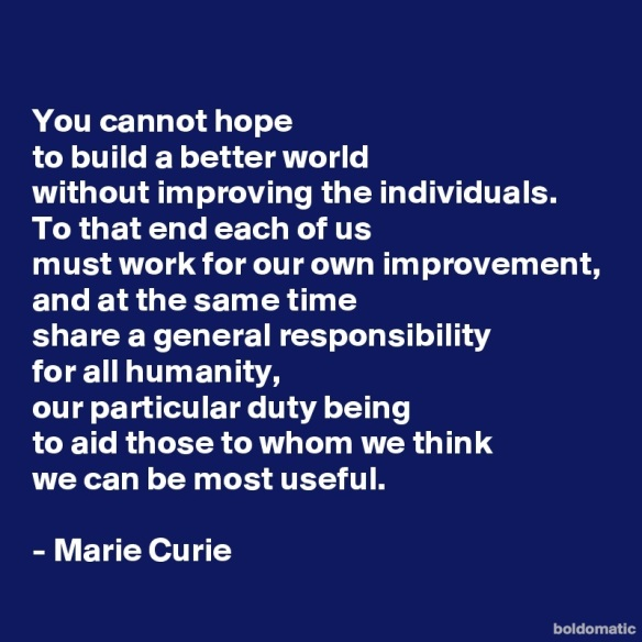 Marie Curie on better world